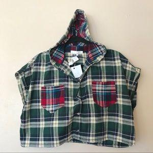 LF story of lola cropped plaid hoodie top